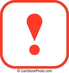 Red square exclamation mark icon warning sign