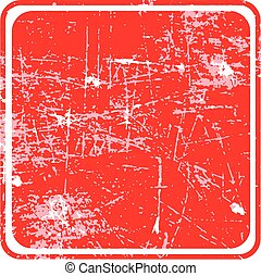 red square grunge stamp with blank siolated on white background.