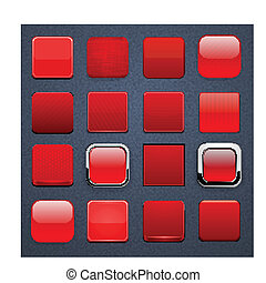 Red square high-detailed modern web buttons. - Set of blank...