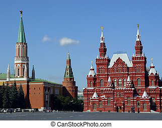 Red Square - History Museum and Kremlin's tower at Red Suare...