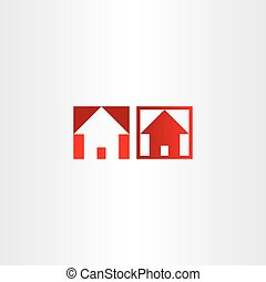 red square icon house real estate