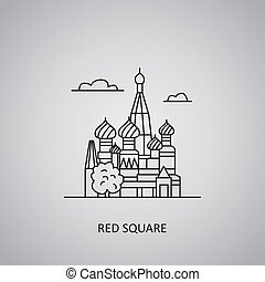 Red Square icon on grey background. Russia, Moscow. Line icon