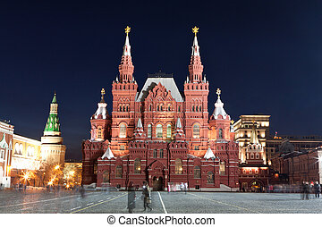 Red square in Moscow at night