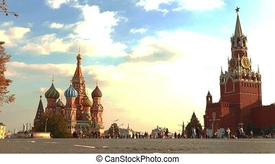 Red Square, the Cathedral and Spasskaya Tower on a background of clouds