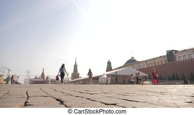 Red Square Kremlin in Moscow Russian Federation people walk...