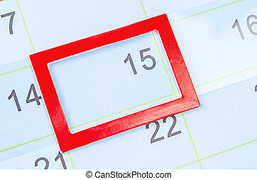 Red square mark at the 15th on blank calendar.