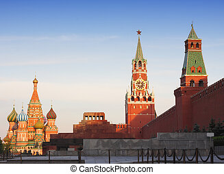 Red square - Moscow Red Square with key landmarks in evening...