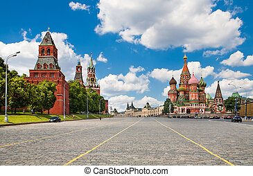 Moscow Kremlin and at St. Basil Cathedral on Red Square in Moscow. Russia.