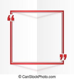 Red square quote frame at white folded paper background
