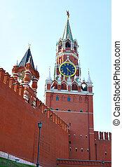 Spasskaya tower - Red square, Spasskaya tower of Kremlin, ...