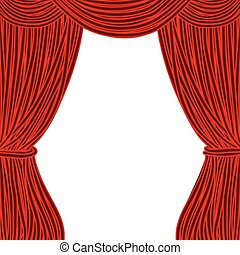 Red square theater curtain