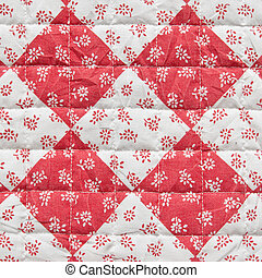 Red Square with Flowers Fabric Texture