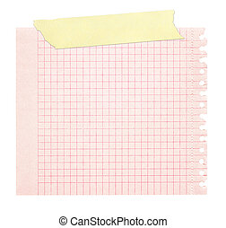 red squared paper stuck with yellow tape - red squared paper...