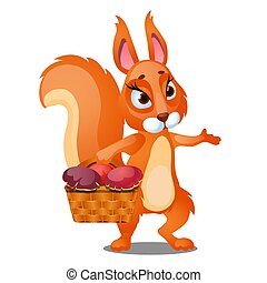 Red squirrel carries a wicker basket filled with mushrooms isolated on white background. Vector cartoon close-up illustration.
