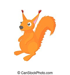 Red squirrel icon, cartoon style