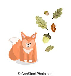 Red squirrel on an isolated background in cartoon style with green oak leaves and acorns.
