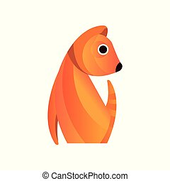 Red squirrel, stylized geometric animal low poly design vector Illustration