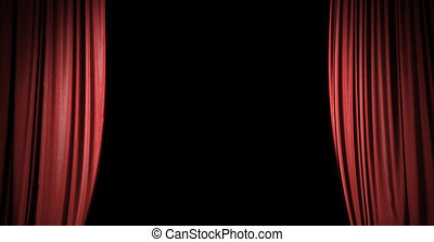 Red stage curtain background with copy space