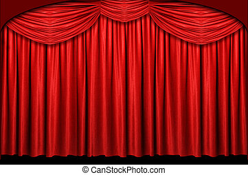 Red Stage Curtain - Red stage curtain with arch entrance