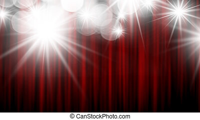 Red stage curtain with bokeh light background