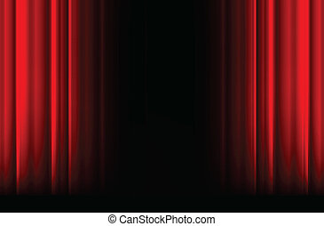Red stage curtain with light, shadow and black space in...
