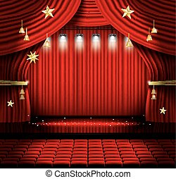 Red Stage Curtain with Seats and Spotlights.