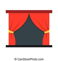 Red stage curtains icon, flat style
