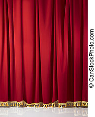 Red stage curtains with gold tassels