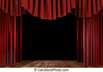 Theater Drapes With Wood Floor - Red Stage Theater Drapes...