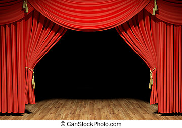Red stage theater velvet drapes - Very high resolution 3d...