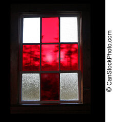 Red stained glass window
