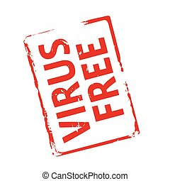 Red stamp and text Virus free. Vector Illustration.