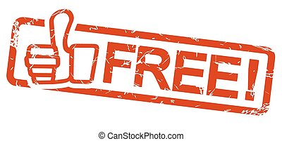 red stamp FREE! - red grunge stamp with frame, thumbs up and...