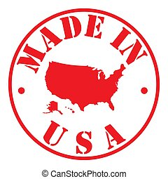 Red stamp made in usa with map of America Vector illustration Eps 10
