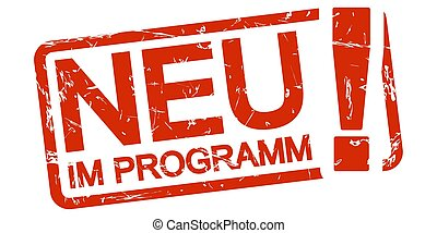 red stamp New in programm (in german) - red grunge stamp ...