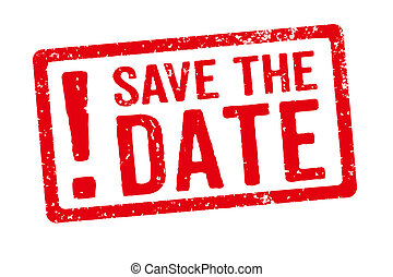 Red stamp on a white background - Save the Date