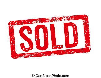 Red stamp on a white background - Sold