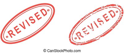 red stamp revised text isolated set in format