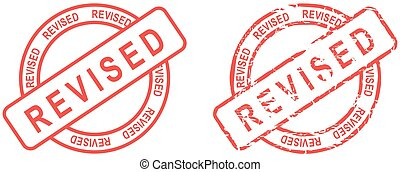 red stamp revised text set - red stamp revised text isolated...