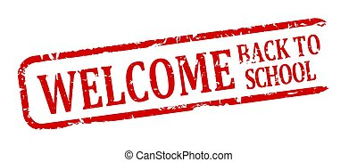 Red stamp - welcome back to school - Damage oval red stamp...