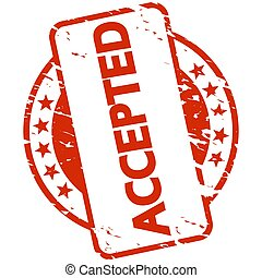 red stamp with Banner accepted - EPS 10 vector with round ...