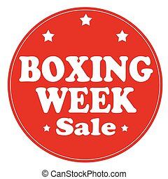 Red stamp with text Boxing Week, vector illustration