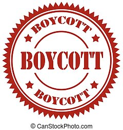 Red stamp with text Boycott, vector illustration