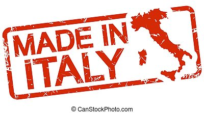 red stamp with text Made in Italy