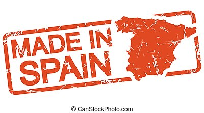 red stamp with text Made in Spain