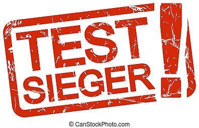 red stamp with text Testsieger