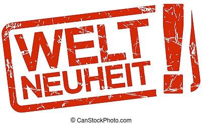 red stamp with text Weltneuheit