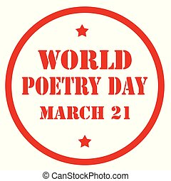 World Poetry Day - Red stamp with text World Poetry...