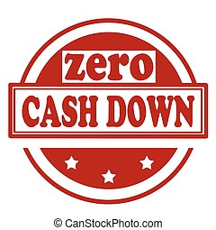 Zero Cash Down - Red stamp with text Zero Cash Down,vector...