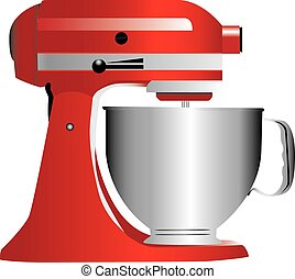 A red stand mixer isolated on white.